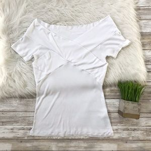 ASOS White Ribbed Short Sleeve Tee